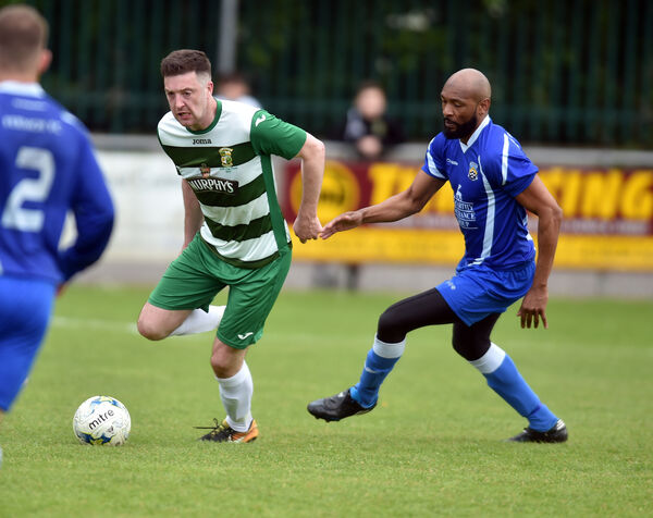 Park United's Shan Cahill takes the ball away from Fermoy's Manu Borgji. Picture: Eddie O'Hare