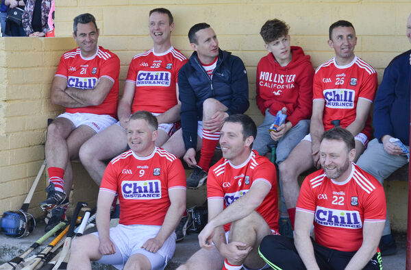 A relaxed Cork subs bench enjoying the recent GAA Legends fundraising match. Picture: Howard Crowdy