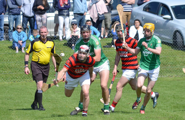 Cloyne's Paudie O'Sullivan reaches for the sliotar. Picture: Howard Crowdy