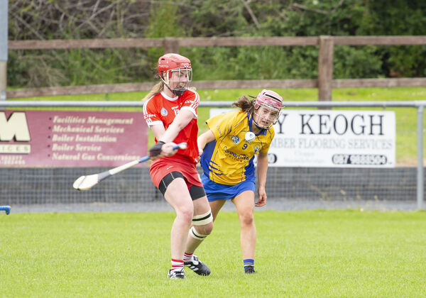 Niamh McCarthy strikes clear of Clare's Roisin Begley. Picture: Liam Burke/Press 22