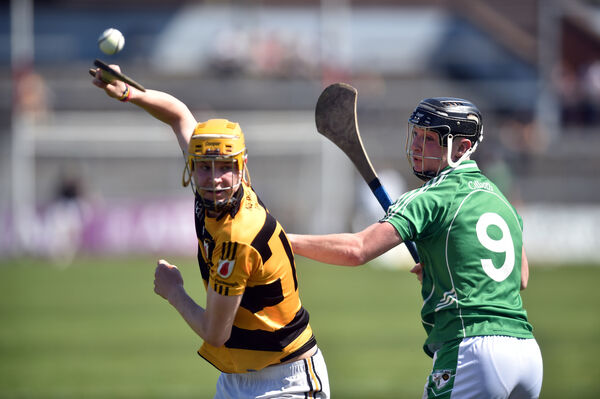 Na Piarsaigh's Craig Hanifin and Killeagh's Killian Treacy go for the ball. Picture: Eddie O'Hare