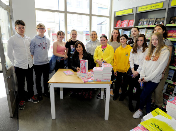 Author Stefanie Preissner takes a moment to take a picture with members of Lightbulb Youth Theatre, Mallow. Picture: Gavin Browne