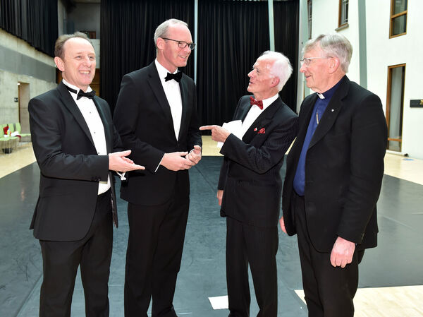 Pictured the 43rd Over 60's talent competition final at the city hall last night, from left, Eoghan Dinan, deputy editor The Echo; An Tananiste Simon Coveney Paddy O'Brien, founder and organiser and Dr John Buckley, Bishop of Cork and Ross. Picture: Eddie O'Hare