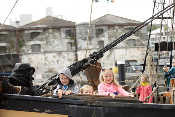 Joe, Jenny and Sarah Cronin, Douglas onboard the Phoenix in the Port of Cork, Cork City for Sea Fest, Ireland's largest free maritime festival.Pic DARRAGH KANE