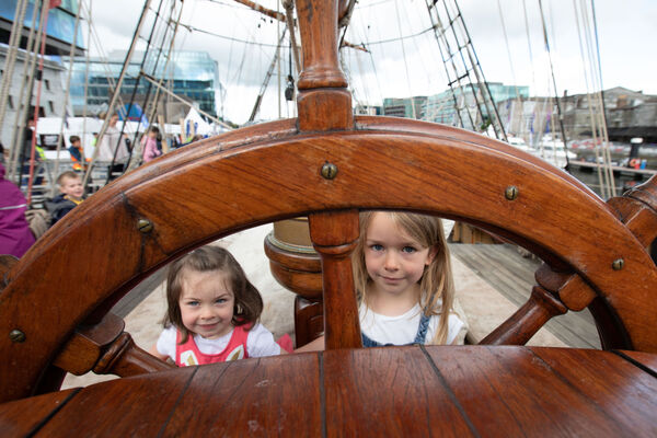 Roisín and Saoirse Fairbairn from Bandon onboard the phoenix in the Port of Cork, Cork City for Sea Fest, Ireland's largest free maritime festival.Pic DARRAGH KANE