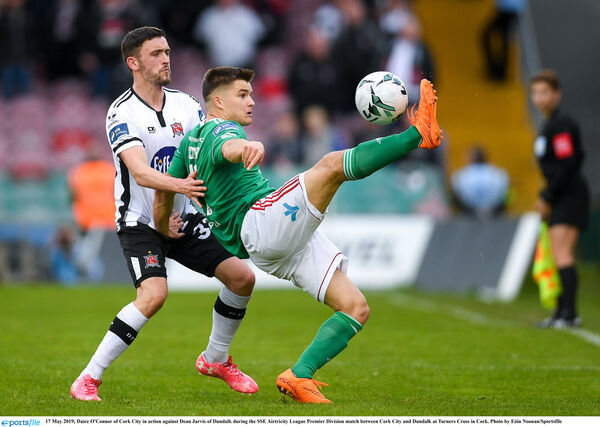 Daire O'Connor of Cork City in action against Dean Jarvis of Dundalk. Picture: Eóin Noonan/Sportsfile