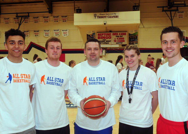 Ger Noonan (centre) and the other coaches Sean Jenkins, Tanner Brooks, Claire Rockall and Roy Downey at the All-Star Basketball Camp. Picture: Denis Minihane.