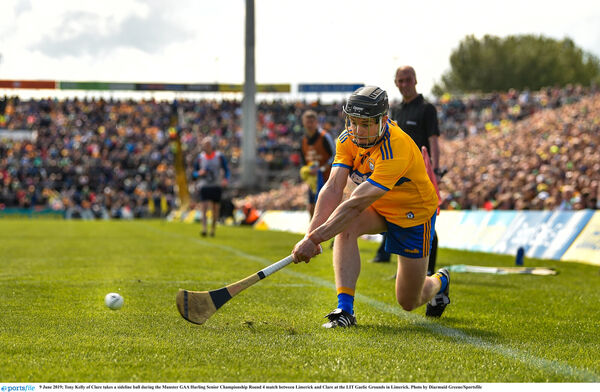 Tony Kelly takes a sideline. Picture: Diarmuid Greene/Sportsfile