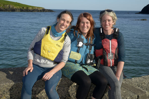 Pictured at Sandycove CoCork with their Curragh was Sinead and Elaine Moynihan with Katie MacShane. Picture Denis Boyle