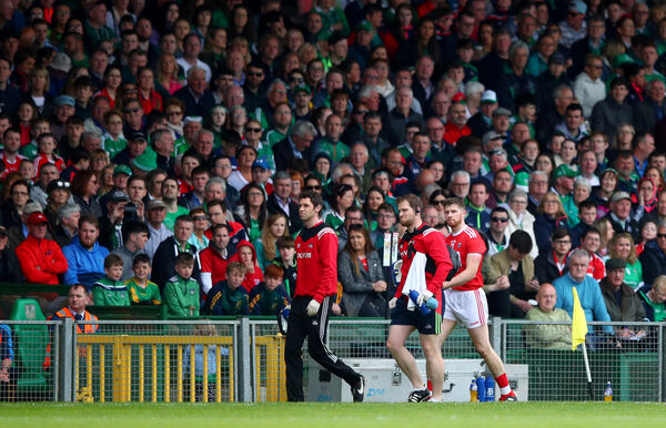 Conor Lehane leaves the field injured against Limerick. Picture: INPHO/James Crombie