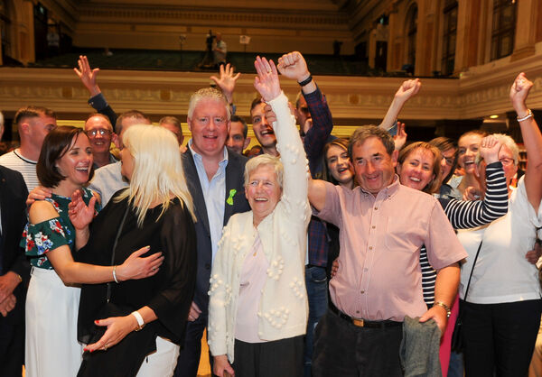 Lord Mayor of Cork Cllr Mick Finn with his supporters after getting elected on the first count, at the counting of votes for the local elections at City Hall, Cork.Picture: David Keane.