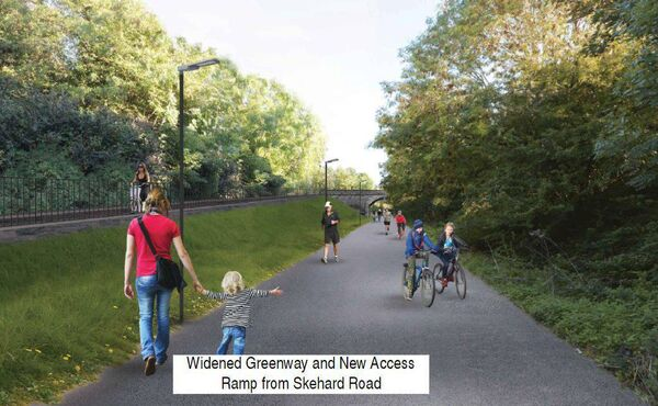 A view of the widened greenway and planned new access ramp from the Skehard Road.