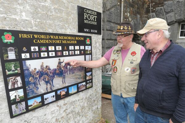 Jerry Conroy, curator and Noel Condon, chairman, at the Last General Absolution board during the preview of the opening of the WW1 room at Camden Fort Meagher in Crosshaven, back in 2018.Picture: David Keane.