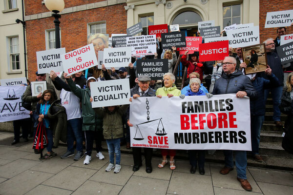 Families of murder victims who are demanding an overhaul of sentencing structures including day release scheme,the protracted parole system and the place families occupy in the mind of the protesting outside the department of Justice, Dublin. Picture: Gareth Chaney Collins