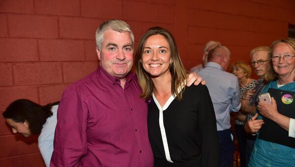 Finbarr Harrington, Non-Party and Holly McKeever Cairns, Social Democrats pictured together at the count centre in the Community Hall in Clonakilty, Co Cork. Picture Dan Linehan