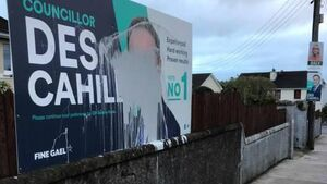 Local Election candidate Des Cahill has posters vandalised