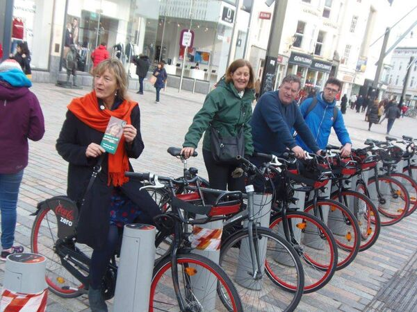 The Green Party's Grace O'Sullivan, Collette Finn and Dan Boyle canvassing in Cork city with Conn Donovan, co-founder of Cycling Works Cork.