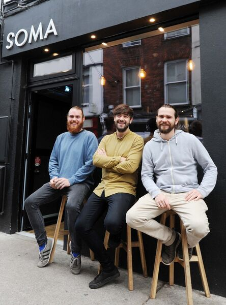 Alex Bruce, (centre) owner, Soma Coffee Co.; Alex Sampson (left) and Matt von Zweigbergk, coffee roasters, pictured outside the Soma Coffee Company, Tuckey St.Picture Denis Minihane.
