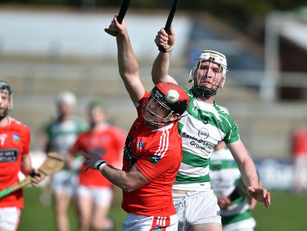Kilworth's Dave Twomey and Valley Rovers' Chris O'Leary tussle for the sliotar. Picture: Eddie O'Hare