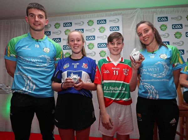 Shane Kingston and Julia White with Liadan Sheppard, Sarsfields, and Cian Walsh, Tracton. Picture: Jim Coughlan.