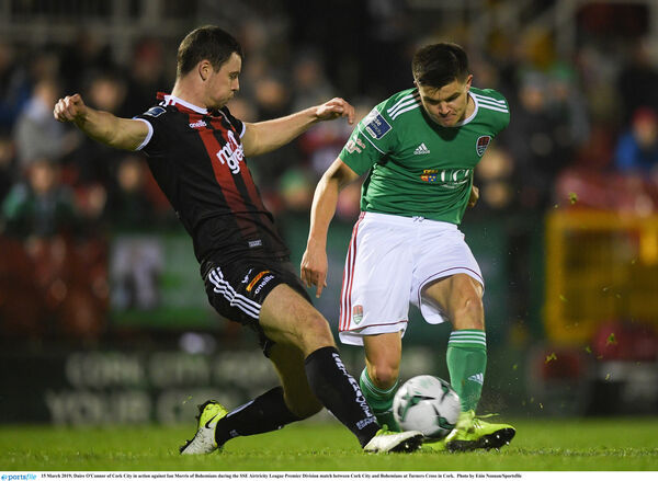 Daire O'Connor of Cork City in action against Ian Morris. Picture: Eóin Noonan/Sportsfile