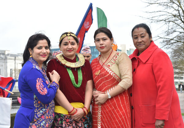 Mina Neupane, Bhagirathi Tripathi, Sharmila Poudel and Rupa Kahatri all members of the Nepalese community in Cork who will take part in this year's St. Patrick's day parade in Cork. Picture Dan Linehan