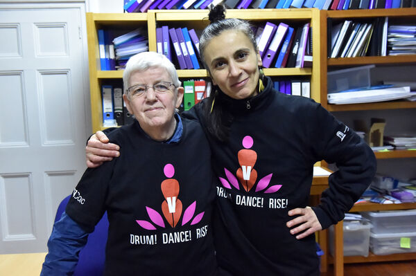 Mary Crilly and Inma Pavon at the Sexual Violence Centre, Camden place , preparing for their Valentine's Day Flash Mob.Picture: Eddie O'Hare