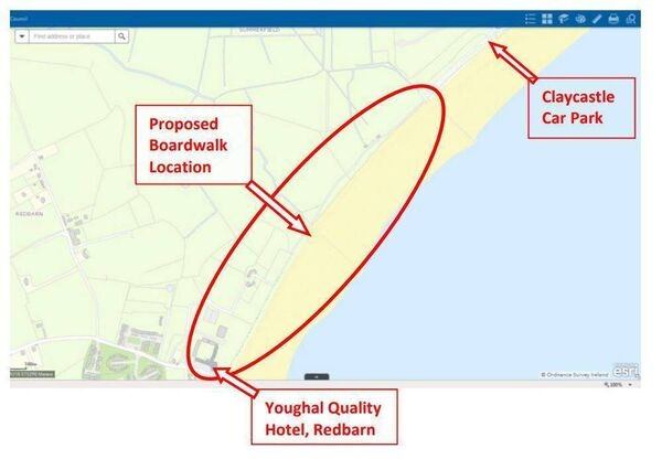 Map showing the planned extension of the Youghal boardwalk.