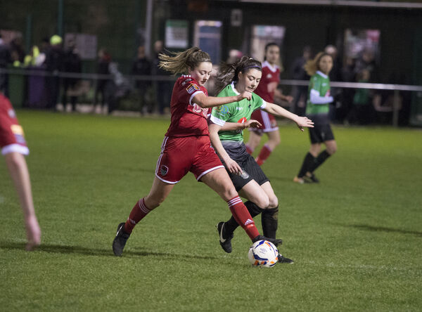 Danielle Burke of Cork City tussles for possession. Picture: Dave Meehan