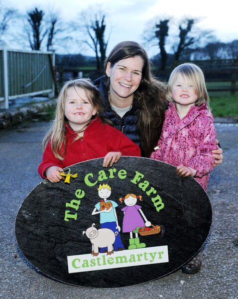 Claire Owers, owner, with her daughters Doireann and Bronagh at the Care Farm near Castlemartyr, Co. Cork.Picture Denis Minihane.Video with this.