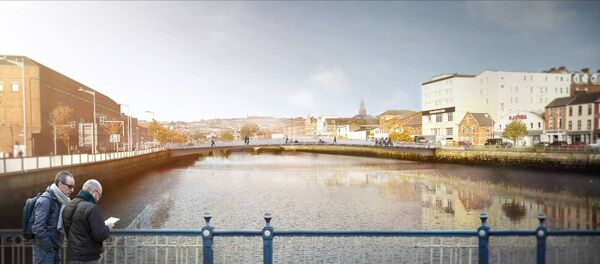 A view of the Mary Elmes pedestrian bridge that will cross from Merchant's Quay to Harley Street and Patrick's Quay.