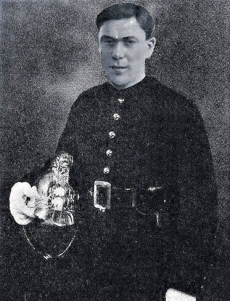 VICTIM: Auxiliary Fireman Michael O'Connell, who became the first member of Cork Fire Brigade to die on duty, in May, 1928. His helmet was crushed in the tragedy when a wall collapsed on him and a colleague