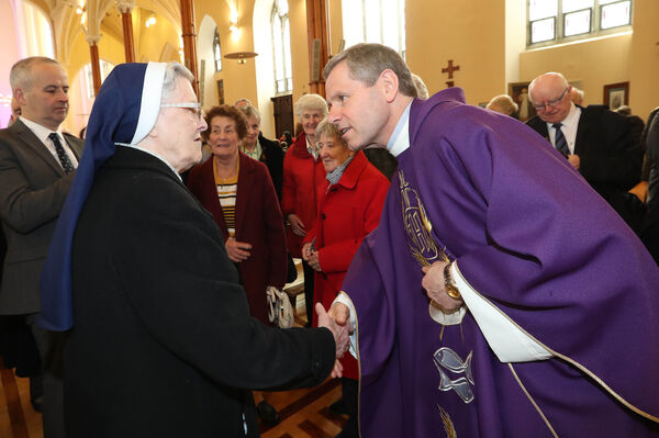 Fr. Fintan Gavin, incomming Bishop meeting people after the service at Cathedral of St. Mary and St. Anne, Cork.Picture: Jim Coughlan.