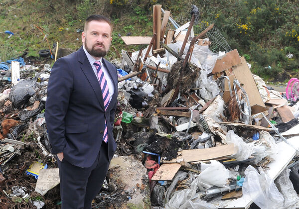 Councillor Kenneth O'Flynn, at the clean-up operation at Ellis's Yard, Spring Lane, Cork.Picture: David Keane.