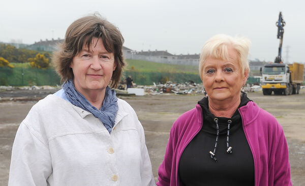 Local residents Noreen Murphy and Gerelyn Nolan, at the clean-up operation at Ellis's Yard, Spring Lane, Cork.Picture: David Keane.