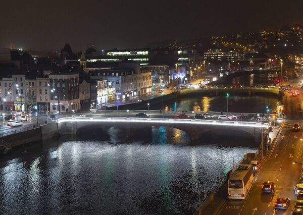 The newly lit and revovated St. Patricks Bridge spanning the River Lee in Cork City. The bridge which was orginally opened by the then Mayor of Cork, Sir John Arnott, on December 12, 1861.  Picture Dan Linehan