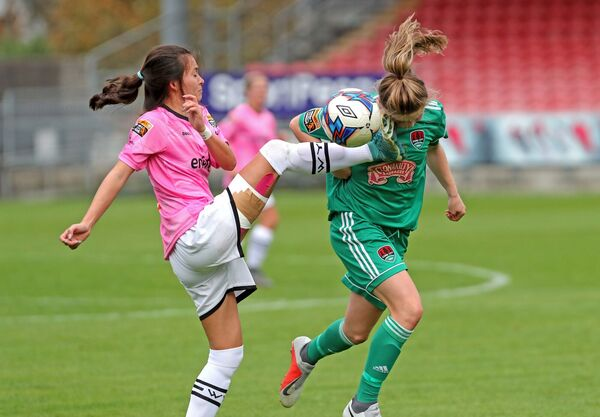 Eabha O'Mahony, Cork City WFC, doesn't hold back. Picture: Jim Coughlan.