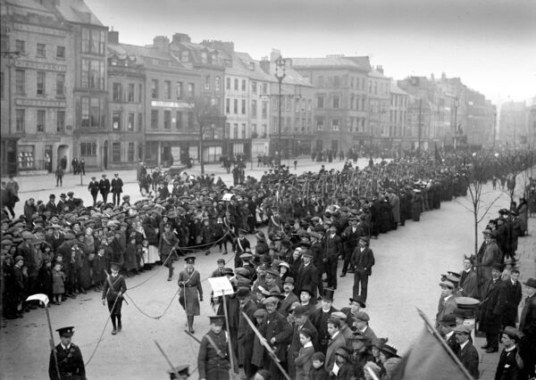 The St Patrick's Day Parade in 1916 makes its way along Grand Parade and onto South Mall. Pictured is the Cork City Regiment of the Irish National Volunteers.