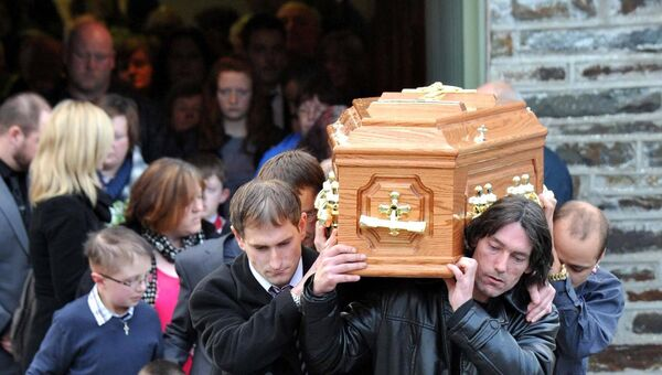 The remains of Alicia Brough leave St Peter's Church, Rockchapel, after her funeral Mass in 2010.	Picture: Dan Linehan