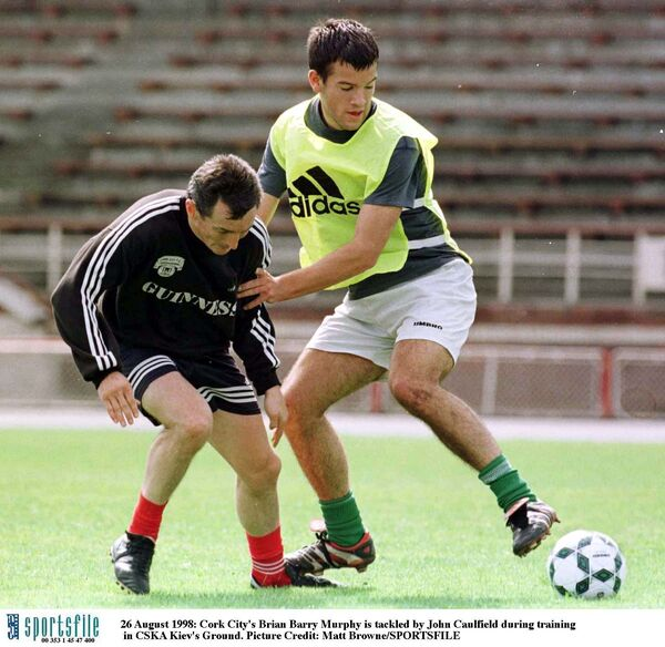Brian Barry-Murphy is tackled by John Caulfield during training in 1998. Picture: Matt Browne/SPORTSFILE