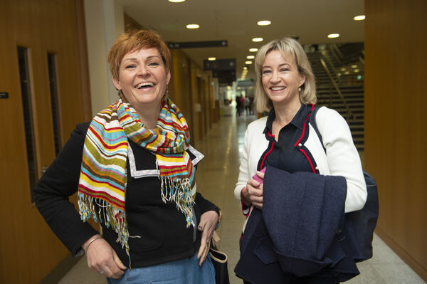 Joanna O'Dowd and Diana McLoughlin at the She is Sustainable conference at the Western Gateway building UCC. Picture Dan Linehan