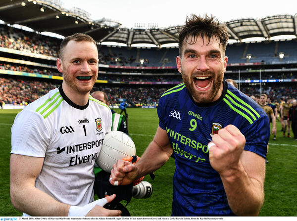 Aidan O'Shea and his Breaffy team mate Rob Hennelly celebrate. Picture: Ray McManus/Sportsfile