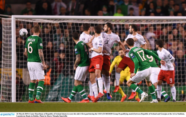 Conor Hourihane curls in a terrific free to open the scoring for Ireland against Georgia at the Aviva. Picture: Harry Murphy/Sportsfile