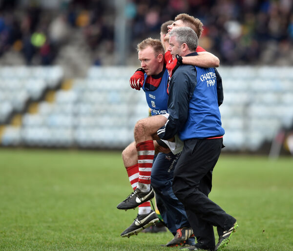 Ian Maguire is carried off, one of three players injured against Donegal. Picture: Eddie O'Hare