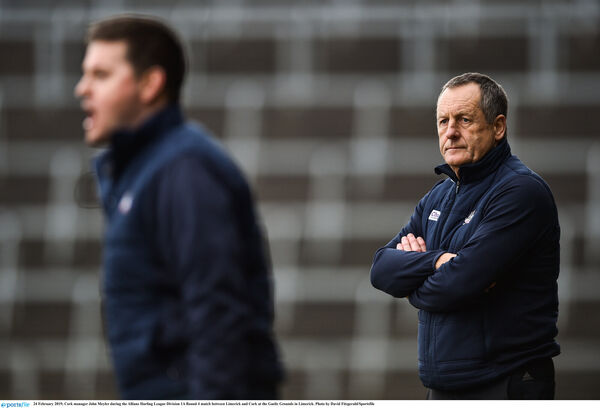 Fraggie Murphy and John Meyler on the sideline. Picture: David Fitzgerald/Sportsfile
