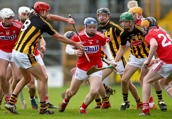 Kilkenny's James Maher and Ger Malone with Cormac Murphy of Cork. Picture: INPHO/James Crombie
