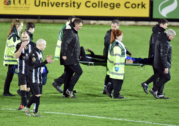Midleton's Kevin Murray was carried off. Picture: Eddie O'Hare