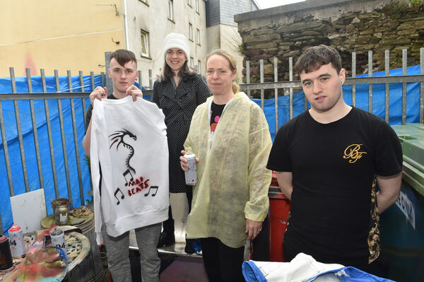 Cope tutor Grainne O'Driscoll with pupils Matthew O'Keeffe and Sidney Murphy and Trish Connolly, art facilitator at the St Patricks Day workshop at the Cork Community Art Link, Blackpool, Cork. Picture Dan Linehan