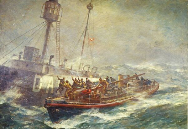 This depiction of the rescue of the crew of the Daunt Lightship by the Ballycotton lifeboat RNLB Mary Stanford is an oil painting by B. F. Gribble