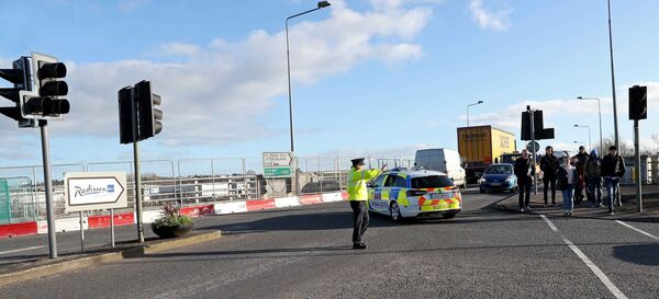 A Roads Policing Garda on Traffic duty on the Little Island Flyover.Picture: Jim Coughlan.